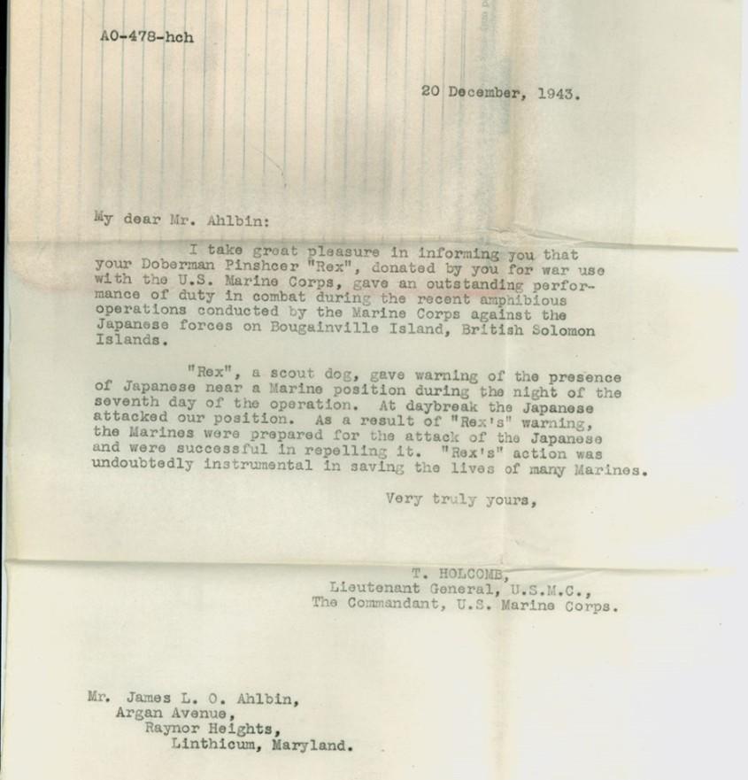 commendation letter to world war dog