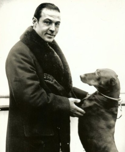 famous silent film star with doberman