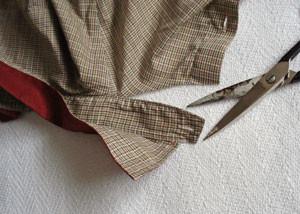 cut shirt collar around edge