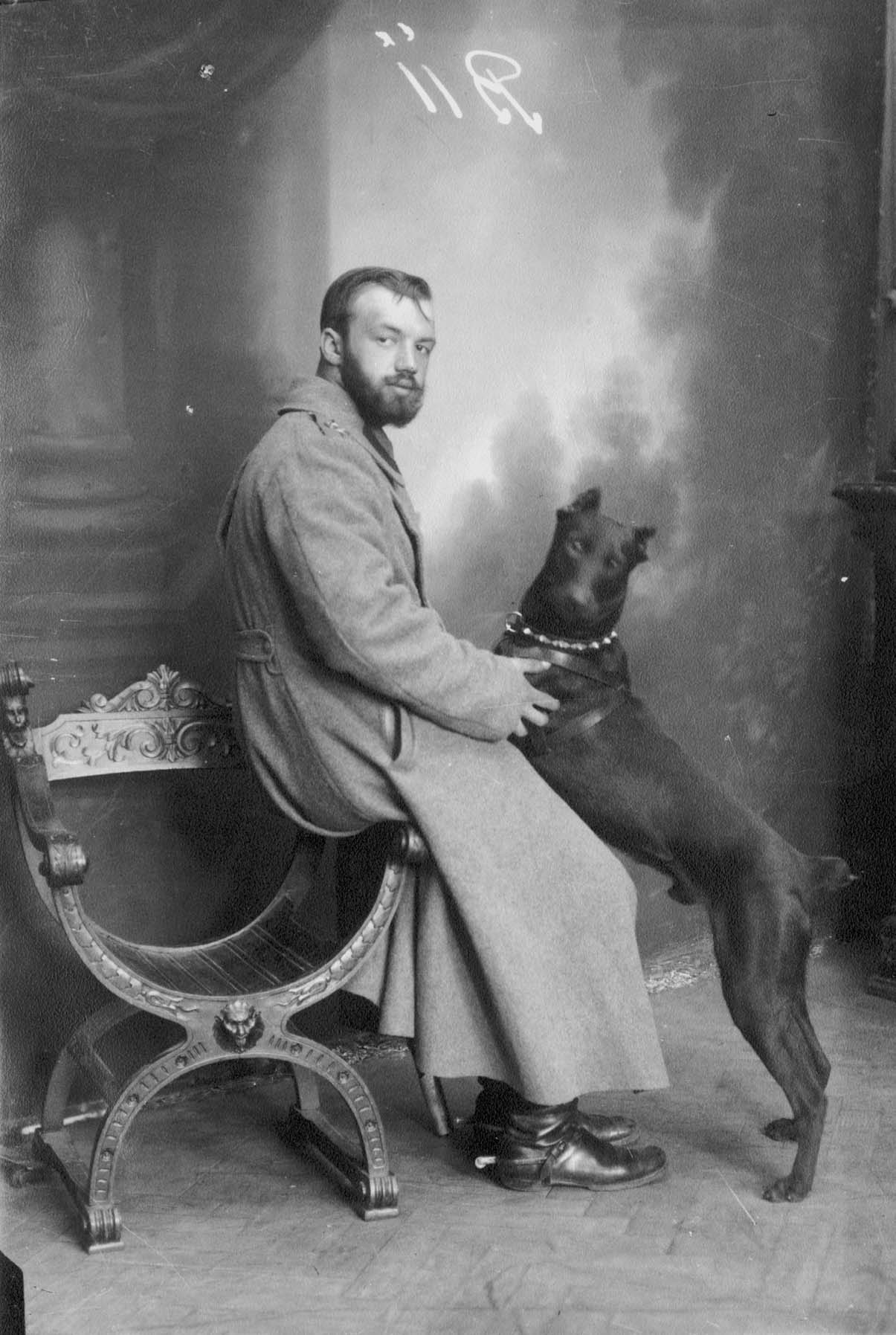 vintage photograph of doberman dog with man 1914 lwow