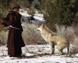 saint tames a wolf who was killing animals and people