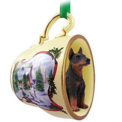 doberman dog Christmas ornament in tea cup
