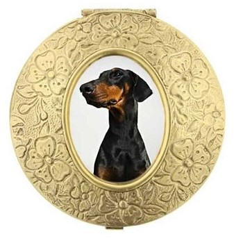 gold doberman dog pill container